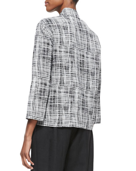 Basketweave 3/4-Sleeve Boxy Jacket