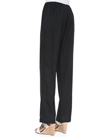 Travel Linen Straight-Leg Pants, Women's