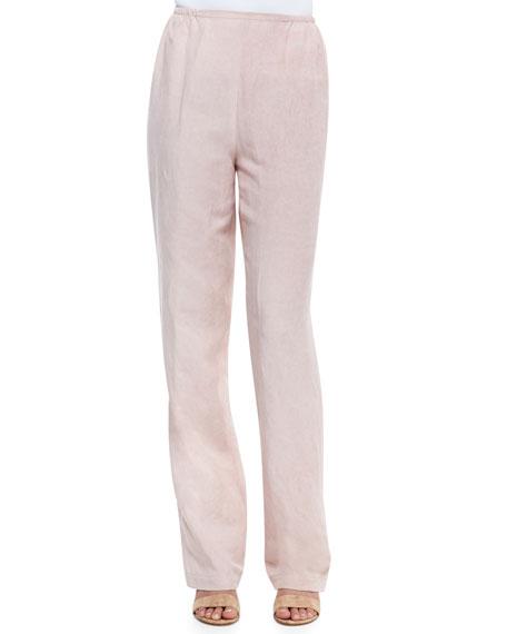 Tumbled-Texture Flat-Front Pants