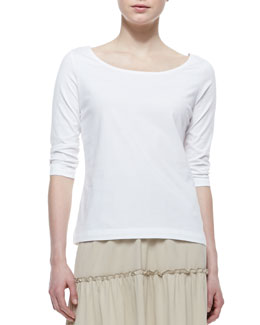 Joan Vass 3/4-Sleeve Cotton Top, Petite