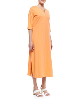 Joan Vass 3/4-Sleeve Split-Neck Dress, Petite