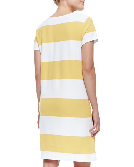Striped Pique Short-Sleeve Dress, Petite