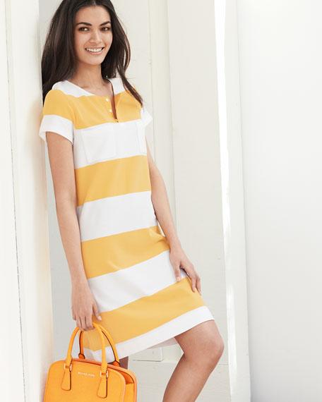 Striped Pique Short-Sleeve Dress, Petite