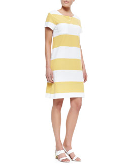 Joan Vass Striped Pique Short-Sleeve Dress, Petite