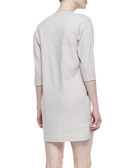 Resort V-Neck Linen-Blend Half-Sleeve Dress