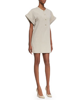 Theory Light Poplin Short-Sleeve Dress