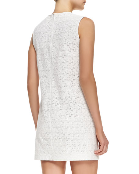 Ellice Perforated Cotton Sleeveless Dress
