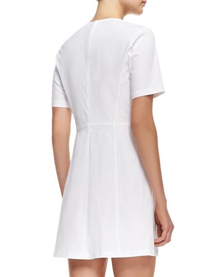 Palatial Twill Short-Sleeve Dress
