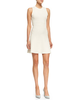 Theory Prosecco Flared Sleeveless Crepe Dress