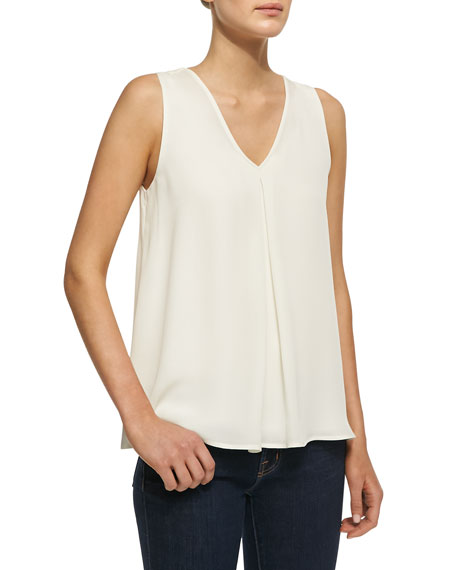 Lesay Double-Georgette Sleeveless Tank