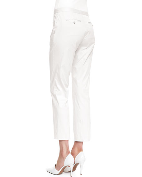Summer Twill Cropped Pants, White