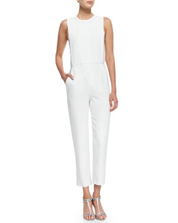 Theory Spiaggia Structured Sleeveless Crepe Jumpsuit