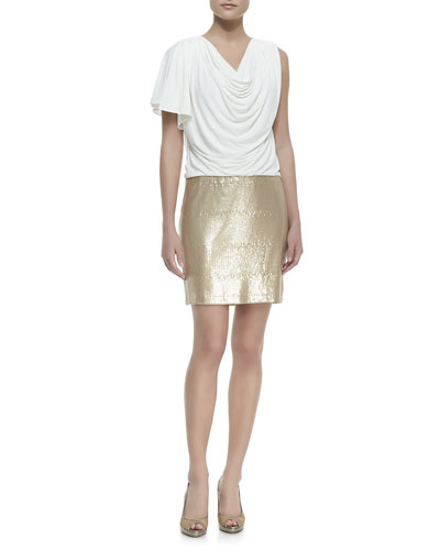Laundry by Shelli Segal Jersey & Sequined Skirt Dress