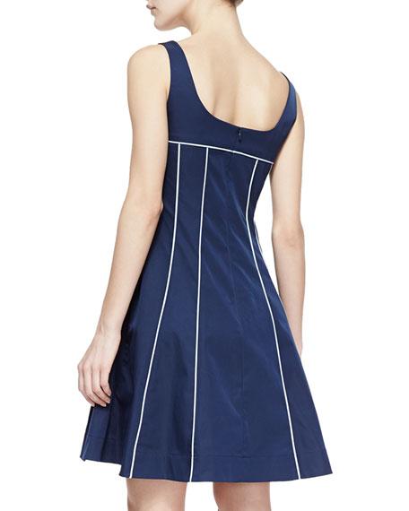 Spring Contrast-Trim Party Dress