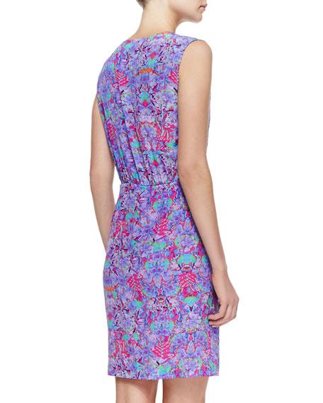 Printed Ruffled Silk Dress