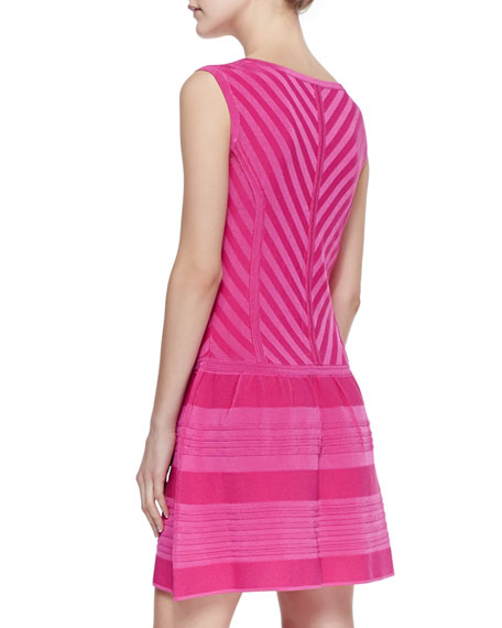 Sunrise Striped Full-Skirt Knit Dress