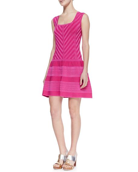 Sunrise Striped Full-Skirt Knit Dress