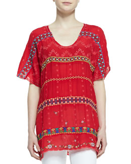 Johnny Was Collection Colorful Daisy Eyelet Blouse, Fiery Red