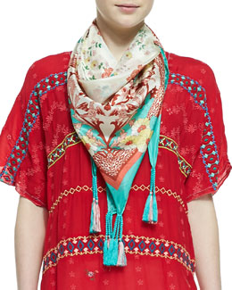 Johnny Was Collection Embroidered & Printed Silk Georgette Scarf