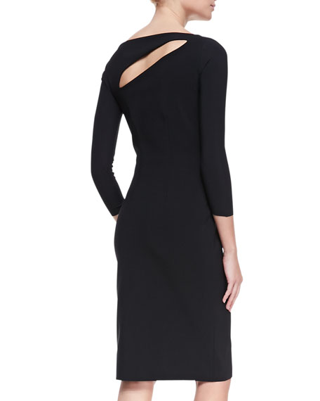 3/4-Sleeve Slash-Neck Cocktail Dress, Nero
