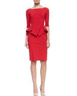 La Petite Robe by Chiara Boni 3/4-Sleeve Pleated Peplum Cocktail Dress, Paprika