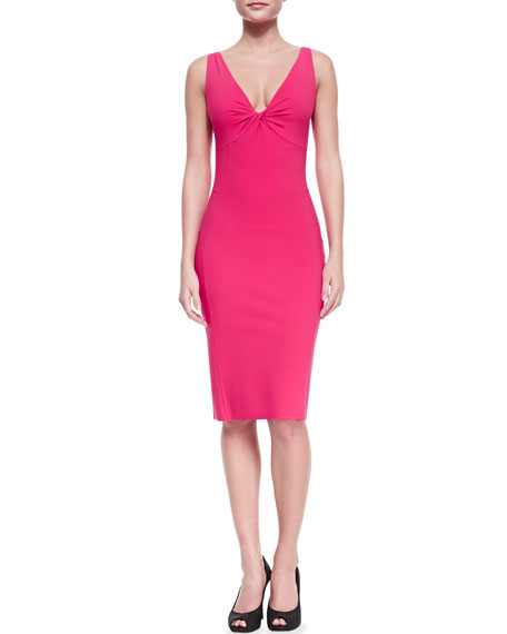 Sleeveless V-Neck Fitted Cocktail Dress, Lampone 408
