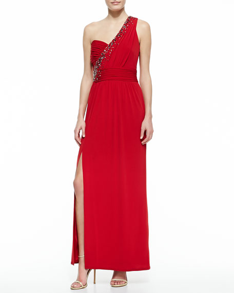 One-Shoulder Embellished Gown, Rose Red