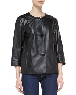 Neiman Marcus 3/4-Sleeve Leather Jacket