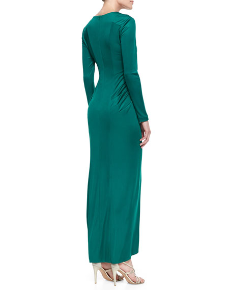 Long-Sleeve Cascade-Front Silk Gown