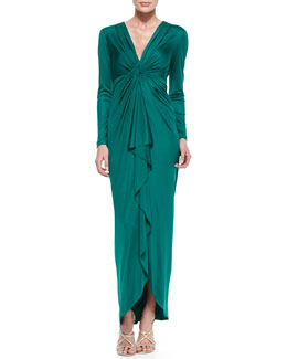 Catherine Malandrino Long-Sleeve Cascade-Front Silk Gown