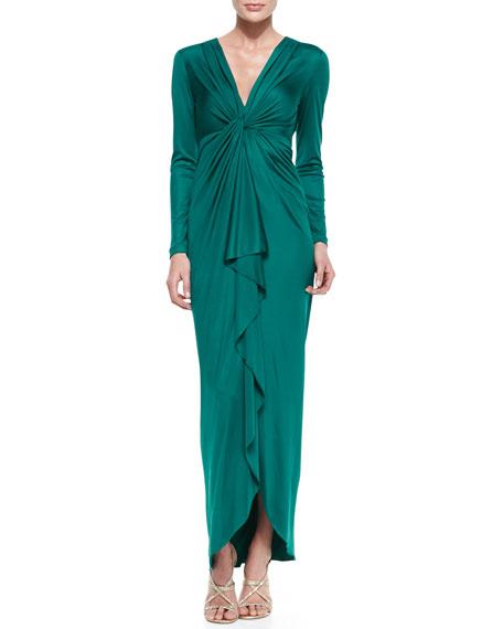 Long-Sleeve Cascade-Front Silk Gown