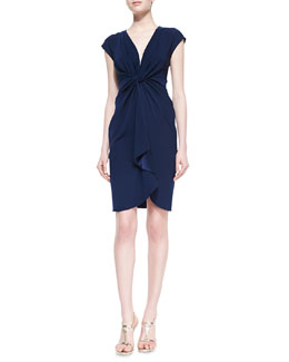 Catherine Malandrino Cap-Sleeve Cascading Ruffle-Front Cocktail Dress