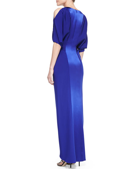Cold-Shoulder V-Neck Silk Gown