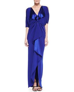 Catherine Malandrino Cold-Shoulder V-Neck Silk Gown