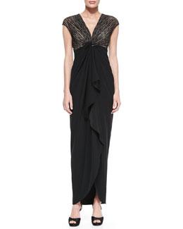Catherine Malandrino Cap-Sleeve Ruffle-Front Gown
