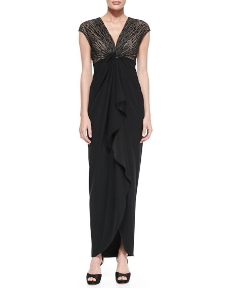 Cap-Sleeve Ruffle-Front Gown