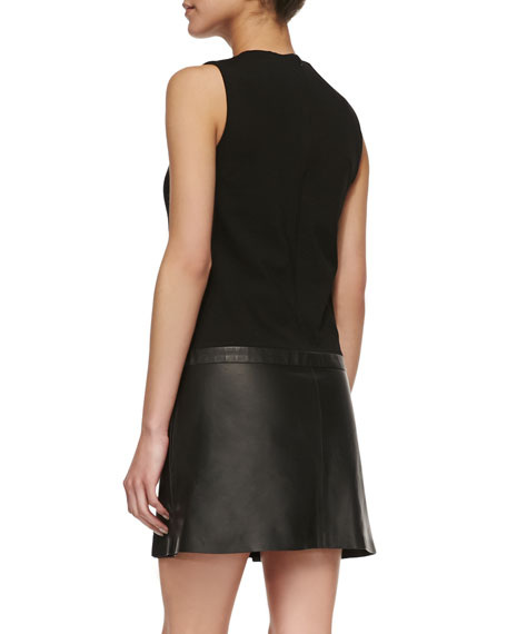 Easeful Lambskin & Ponte Sleeveless Dress