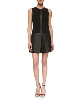 Theory Easeful Lambskin & Ponte Sleeveless Dress