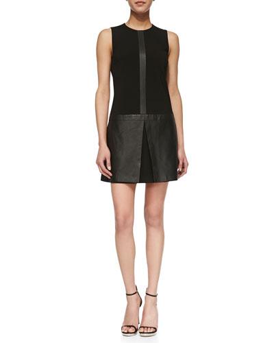 Theory Easeful Lambskin & Ponte Sleeveless Dress