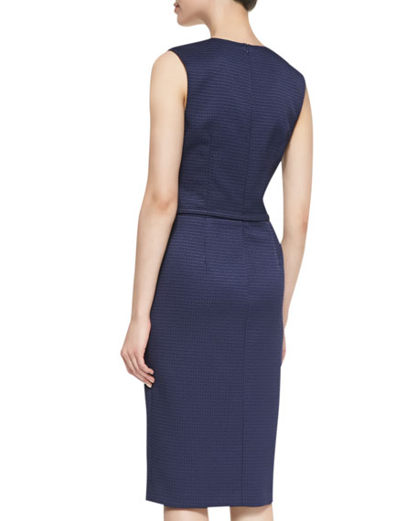 Sleeveless Belted Sheath Dress, Navy
