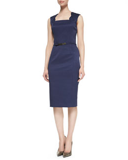 David Meister Sleeveless Belted Sheath Dress, Navy