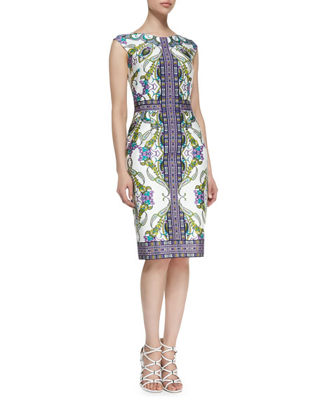 Cap-Sleeve Paisley-Print & Patterned Sheath Dress