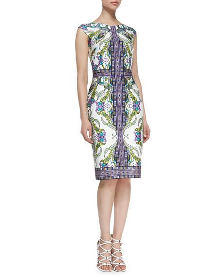 Cap-Sleeve Paisley-Print & Patterned Sheath Dress
