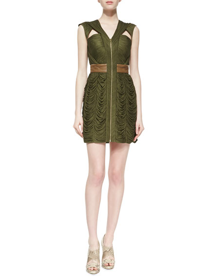 Myla Leather Detail & Silk Sleeveless Dress, Emerald