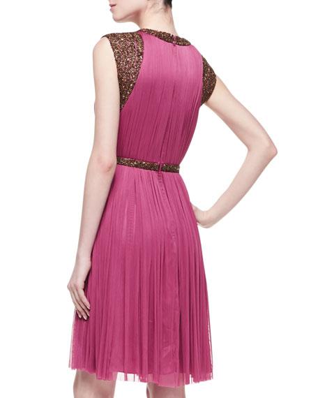 Monica Pleated Beaded-Sleeve Dress, Sangria