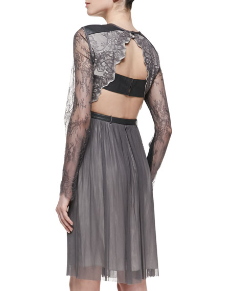 Maria Lace & Leather-Detail Dress, Pewter Dove