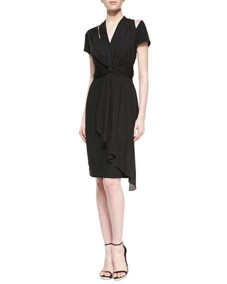 Mora Silk Draped Dress, Black