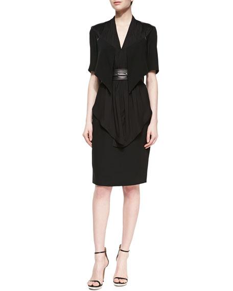 Mia Silk Layered Dress, Black