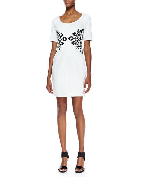 Half-Sleeve Embroidered-Waist Dress, Snow/Black
