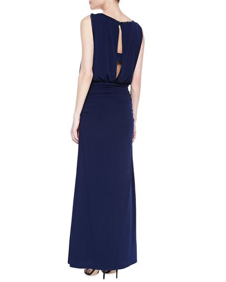 Sleeveless Beaded Blouson Gown, Midnight Blue